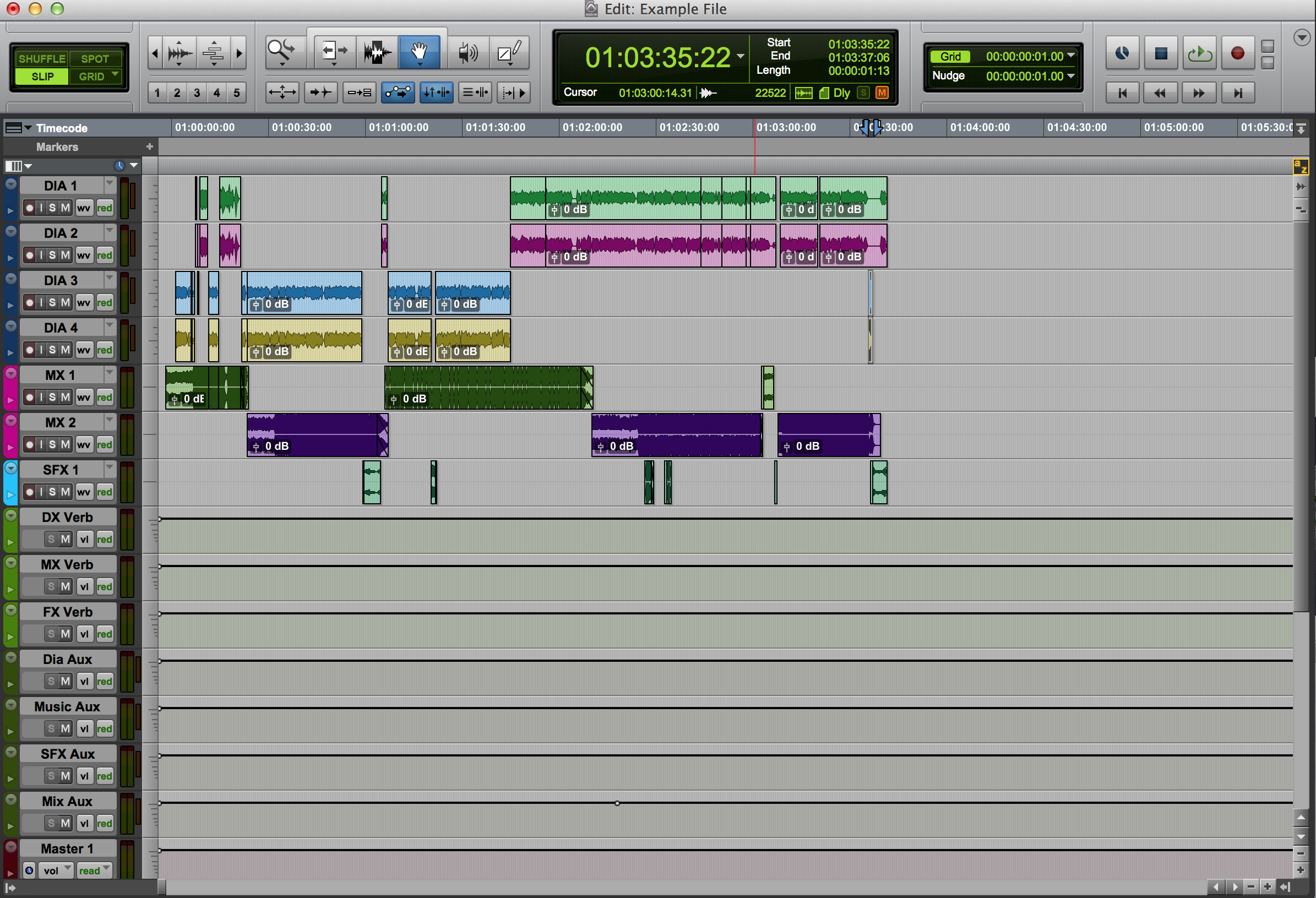Protools example file of AAF split out to a template