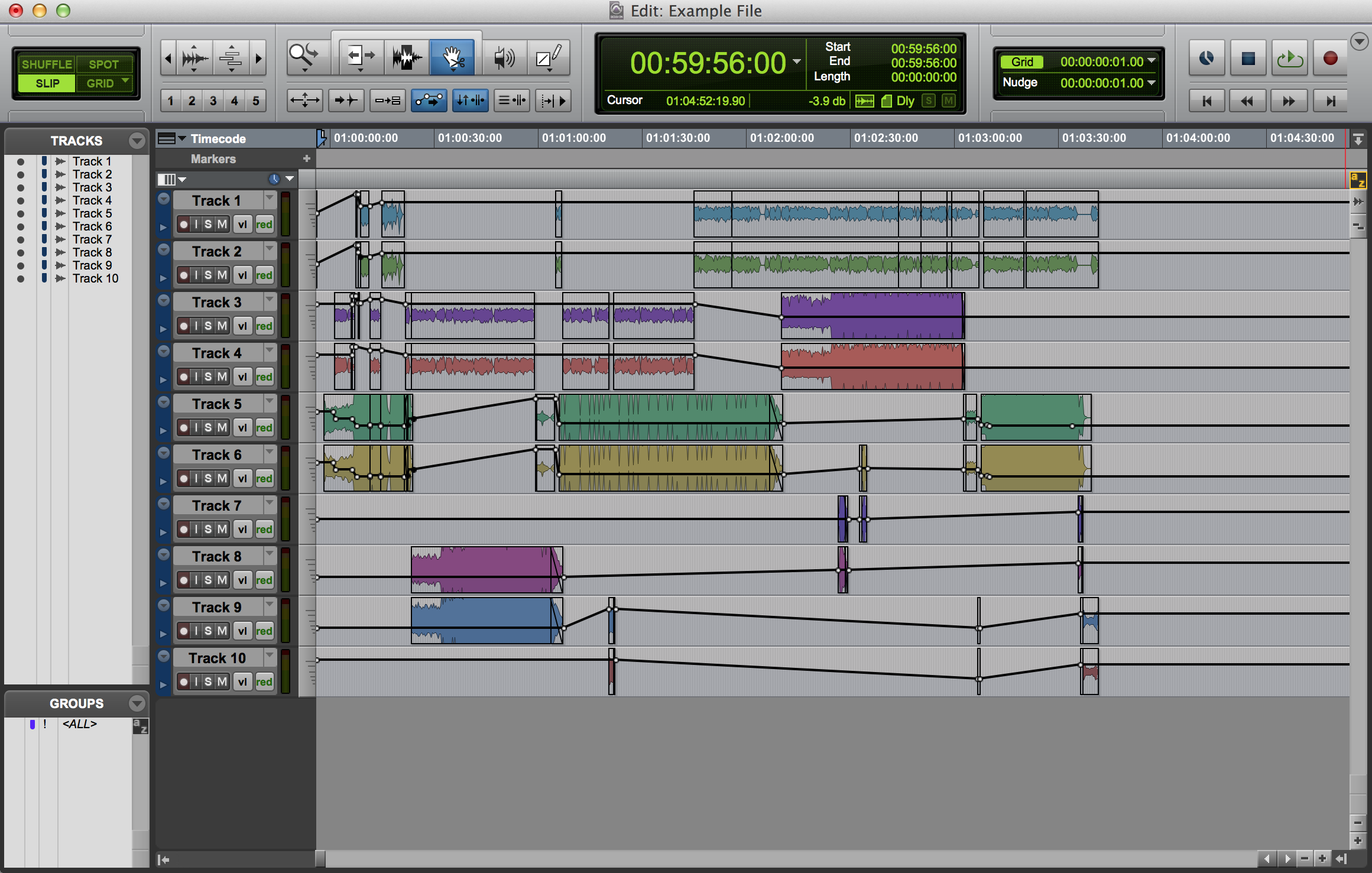 Protools example of opened AAF not split out